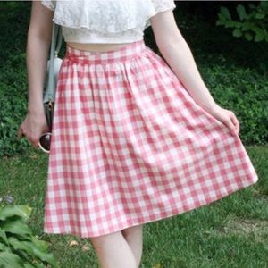 Pink gingham skirt from ModCloth